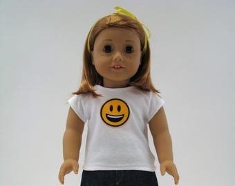 "American Doll Clothes - 18 Inch Doll Clothes - Girl Doll Clothes - 18 Inch Doll T-Shirt - Emoji Top - 18"" Doll Top - Smile Happy"