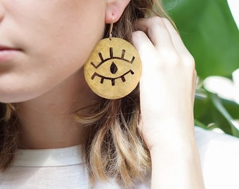Open Close Eye Eyelashes Earrings gold wink statement big bold flirty hammered copper girl power hand cut handmade