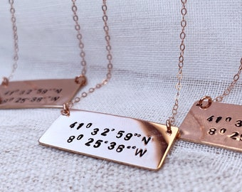 Rectangle Bar necklace Custom rose gold filled sterling silver coordinates lost and found special place bridesmaid gift jewelry girl present