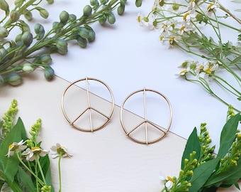 Peace Earrings hoops Gold peace hippie flower power round circle disc brass dangle drop earrings modern sixties hippie boho