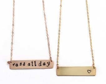 Medium skinny bar necklace custom name date monogram bar rose gold silver necklace
