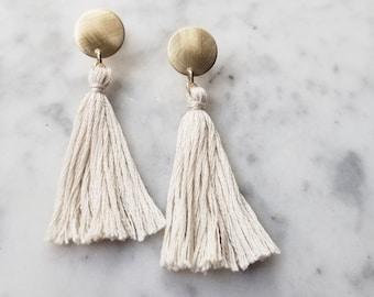 Dot tassle earrings bridal cream creme white bride blush pink gold handmade tassel drop dangle fun romantic women bridal bridesmaid matte
