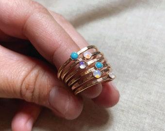 Single gemstone hammered stacking ring