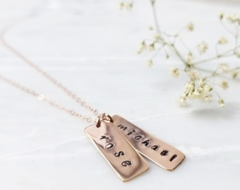 Two layered medium vertical rectangle stamped gold silver rose necklace