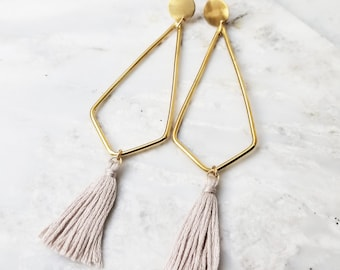 Cynthia tassel earrings geometric brass circle dot post dangle gray tassle statement hoop earring fun mod mid century lavender