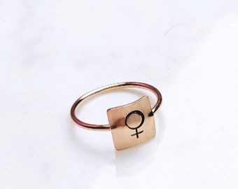 Woman symbol square Bar ring rose gold filled sterling silver custom stamped cigar ring rectangle square statement girl power female sign