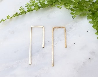 Hook hoops hammered gold filled rose gold filled sterling silver earrings threader lightweight modern small little hoop everyday jewelry