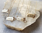 custom bar with initial necklace gold filled chain with brass