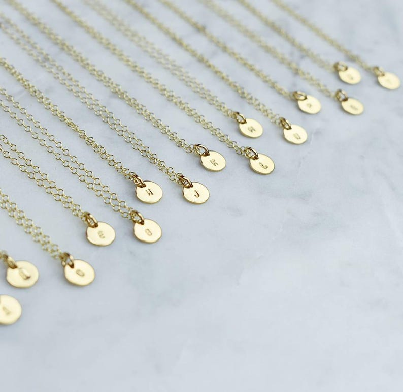 Teeny Initial disc necklace gold filled rose gold filled image 0
