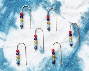 Rainbow open small arc hoops with gemstones summertime earrings fun rainbows coral amethyst yellow tiger eye sodalite green aventurine