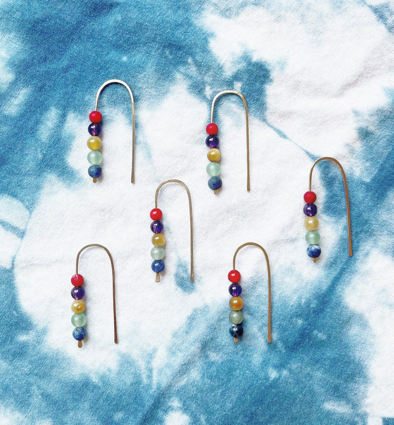 Rainbow open small arc hoops with gemstones summertime image 0