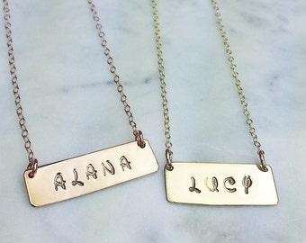 Disney font custom name monogram bar rose gold silver necklace
