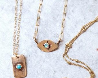 All seeing eye necklace opal gold filled gemstone Halloween snakes noir wisdom Egyptian eye of Ra evil eye jewelry