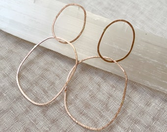 Fat Drip double organic oval hoops lightweight statement earrings gold filled rose gold filled sterling silver hammered