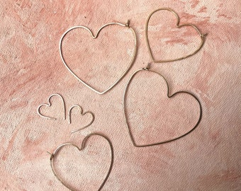 SMALL heart hoops rose yellow gold or sterling