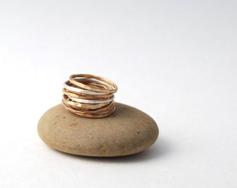 set of 3 hammered  skinny band rings