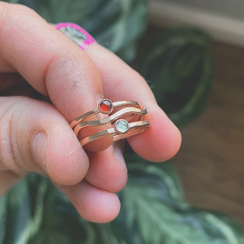 Wavy gemstone hammered stacking ring set birthstone gem gold image 0