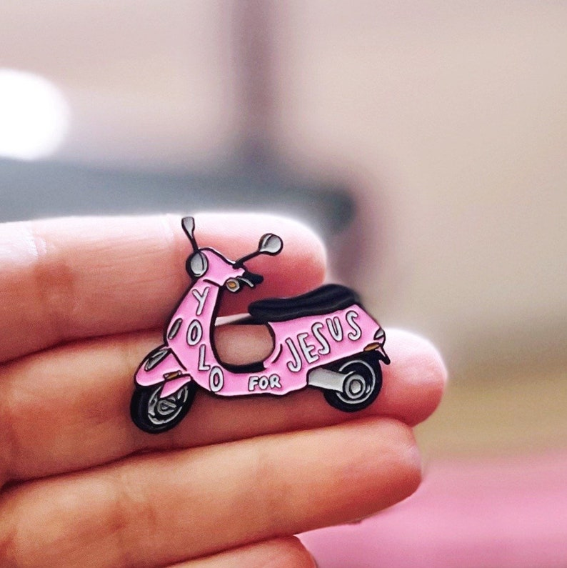 YOLO for Jesus pink vespa Enameled pin Barbie pink girl power image 0