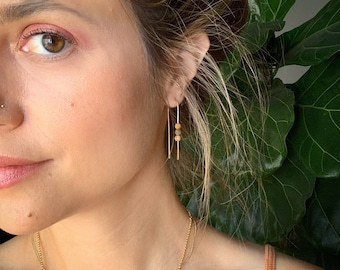 Midi arch hoops in picture jasper gold filled rose gold filled sterling silver modern light earrings fall autumn earthy dust rust earth