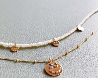 Smiley Face necklace and Pearl Smiley Alex opal gemstone sterling silver gold filled ring double birthstone eyes smile freshwater pearls
