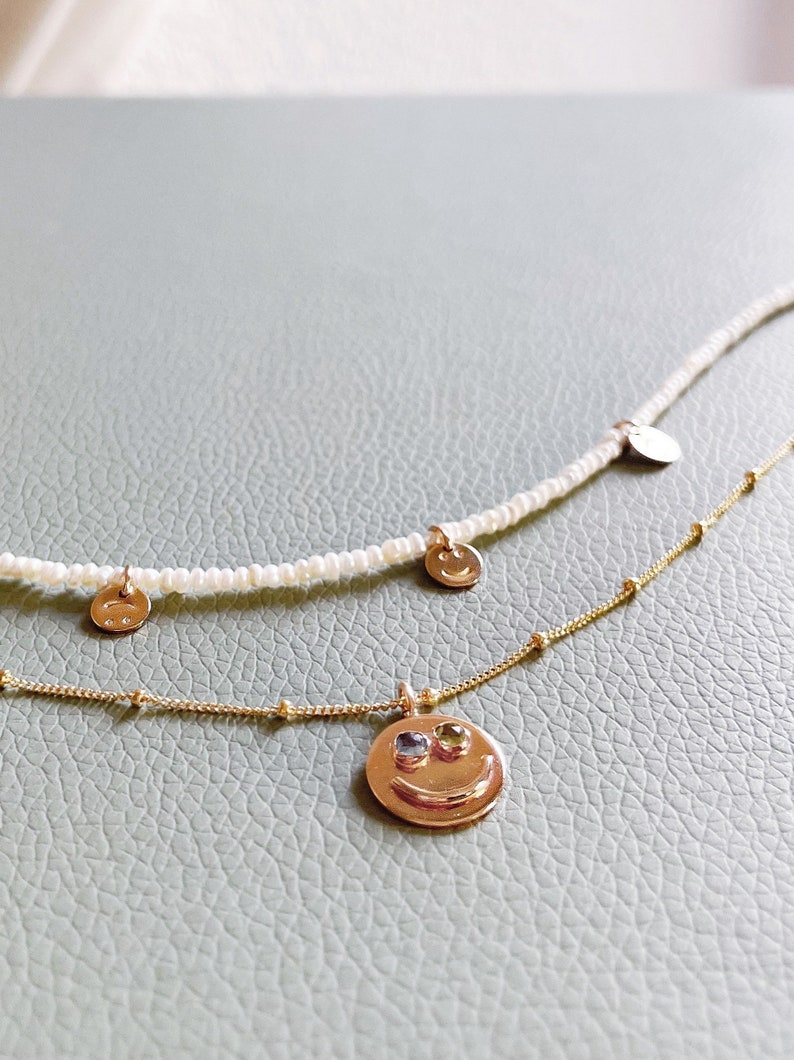 Smiley Face necklace and Pearl Smiley Alex opal gemstone image 0