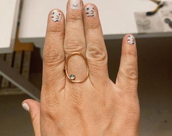 The Gemmed Oval silhouette ring gemstone birthstone gift new mom