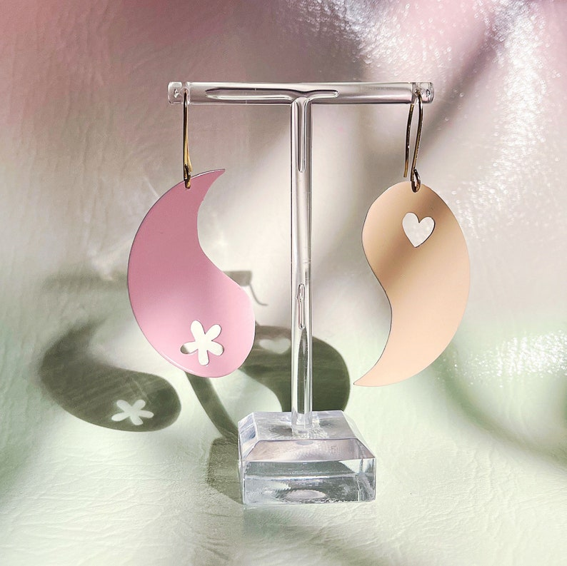 Yin to the Yang earrings heart flower pink peach cotton candy image 0
