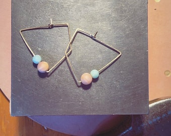 Angle Gemstone hoops gold filled with sunstones and amazonite sterling silver rose gold filled
