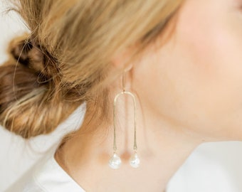 Pearly Arch earrings gold filled sterling silver pearl pearls long chandelier earring romantic arc architecture modern cream bridal