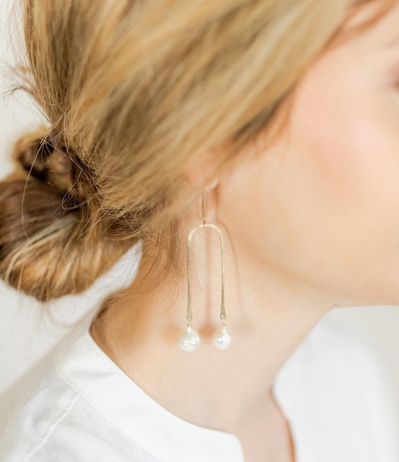 Pearly Arch earrings gold filled sterling silver pearl pearls image 0