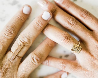 Be Kind Kindness Bar ring rose gold filled sterling silver custom stamped cigar ring rectangle square statement love beauty shine