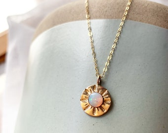 OPAL Pearly Sun Necklace in gold filled October birthday Genuine opal golden rays good vibes boho vibe shine