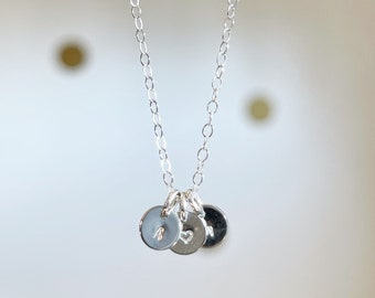 Multiple disc Teeny Initial necklace tiny gold filled sterling silver rose gold filled discs initial monogram heart stamped hanging round