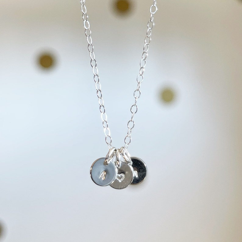 Multiple disc Teeny Initial necklace tiny gold filled sterling image 0