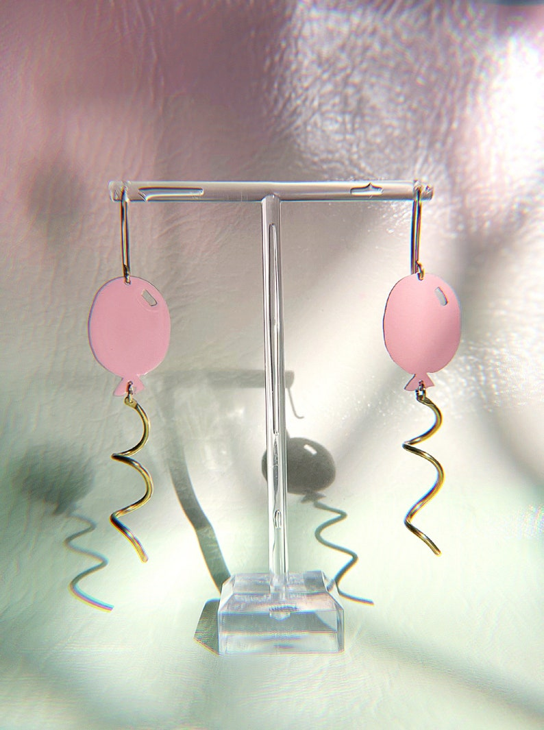 Party on America pink balloon earrings cotton candy brass gold image 0