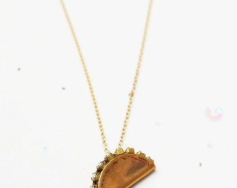 Taco Tuesday gold filled necklace mexican food junk food tortilla taco truck cheese stocking stuffer foodie love