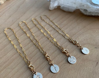 Little Disc Rectangle chain bracelet gold filled discs paw cross medical insignia dog mama Christian lotus yoga initials layering bangle