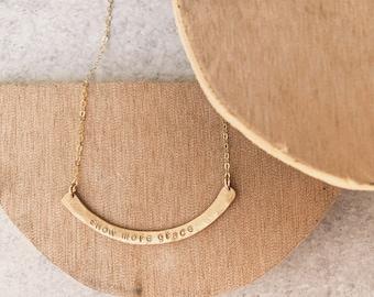 Show more grace curved bar necklace gold filled rose gold filled sterling silver