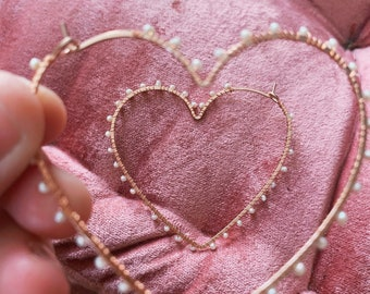 My Favorite Sweetheart pearl heart hoops rose gold filled yellow gold filled or sterling silver pearls wire wrapped Valentine's Day gift