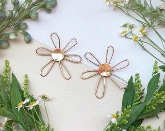 Hippie Flower Power Earrings big floral statement earrings gold brass sterling silver post summer ready