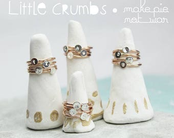 Tiny Initial Sterling silver Rose gold filled ring monogram kids jewelry Little Crumbs