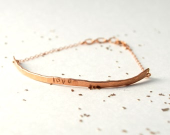 curved bar bracelet hammered custom stamped love monogram personalized gold filled sterling silver rose gold filled mom jewelry new baby