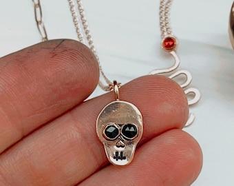 Black eyes Skull necklace Skeleton gold filled muerto dis de Los muertos pirate black spinel gemstone Halloween calabasa noir