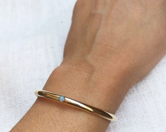 The Gemmed Half Round cuff bangle custom jewelry gem bracelet opal turquoise gemstone birthstone brass gold filled