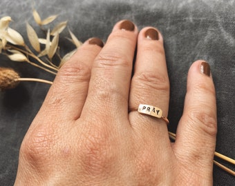 Itty Bitty Bar Ring PRAY tiny gold filled rose gold siloed sterling silver custom stamped layering stacking ring love joy hope Christian