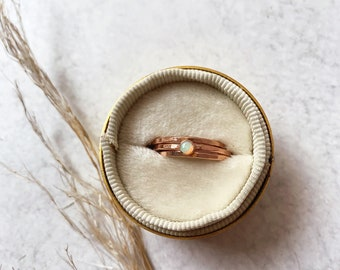 Little stack SET opal gemstone hammered stacking ring set birthstone rose gold filled gold filled sterling silver