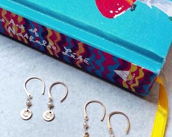 Smiley Mushroom Mini Open Hoops gold filled earrings teeny tiny hoop hammered gift women smile flower eyes