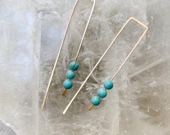 Long Hook hoops in turquoise gold filled rose gold filled sterling silver modern sleek light modern earrings gemstone birthstone
