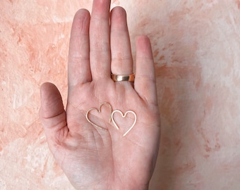 Mini open heart hoops hearts rose gold filled yellow gold filled sterling silver love earrings modern romance simple minimalist earrings