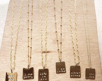 Make Prayer Not War necklace paper clip chain satellite chain gold filled Christian prayers gift woman